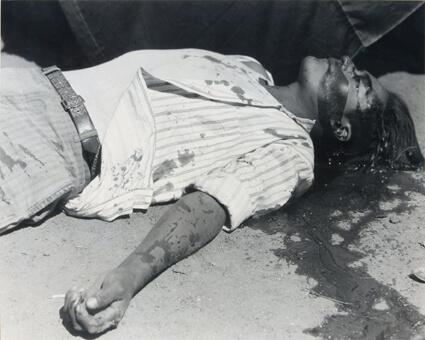 Obrero en huelga, asesinado (Ouvrier en grève, assassiné)