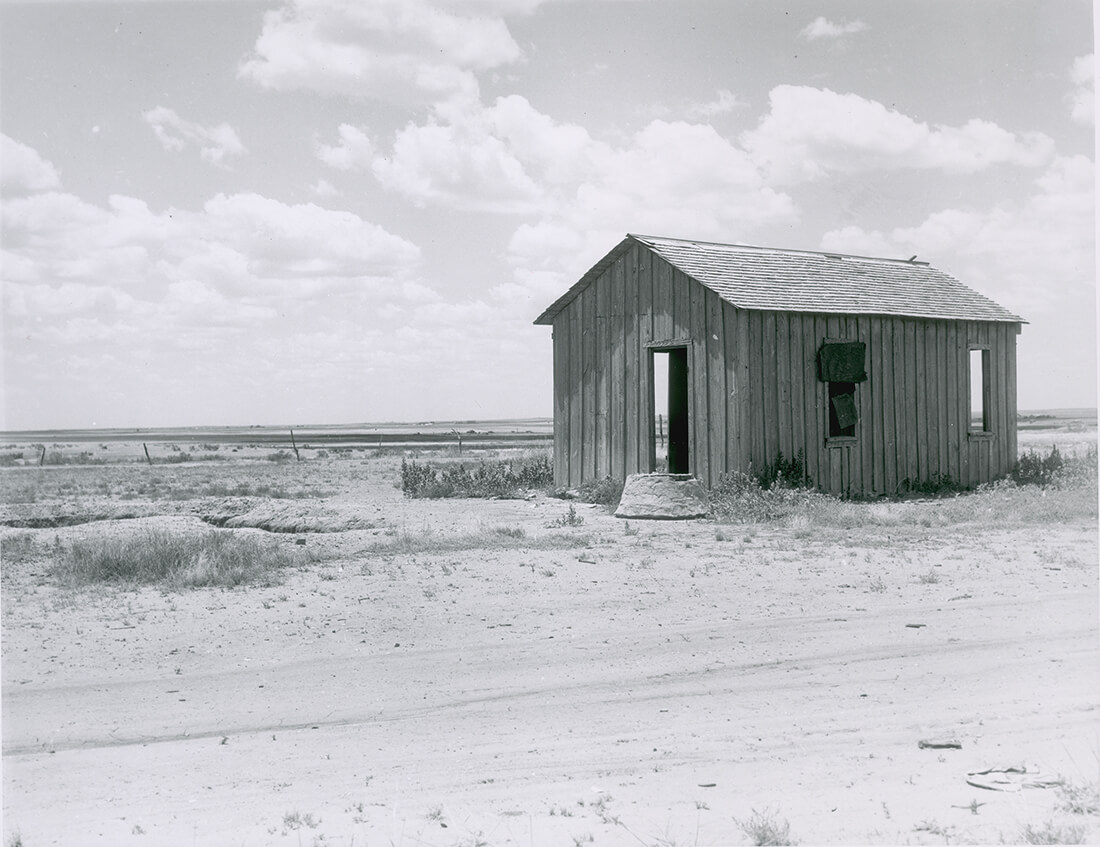 Drought-abandoned house on the edge of the Great Plains near Hollis, Oklahoma