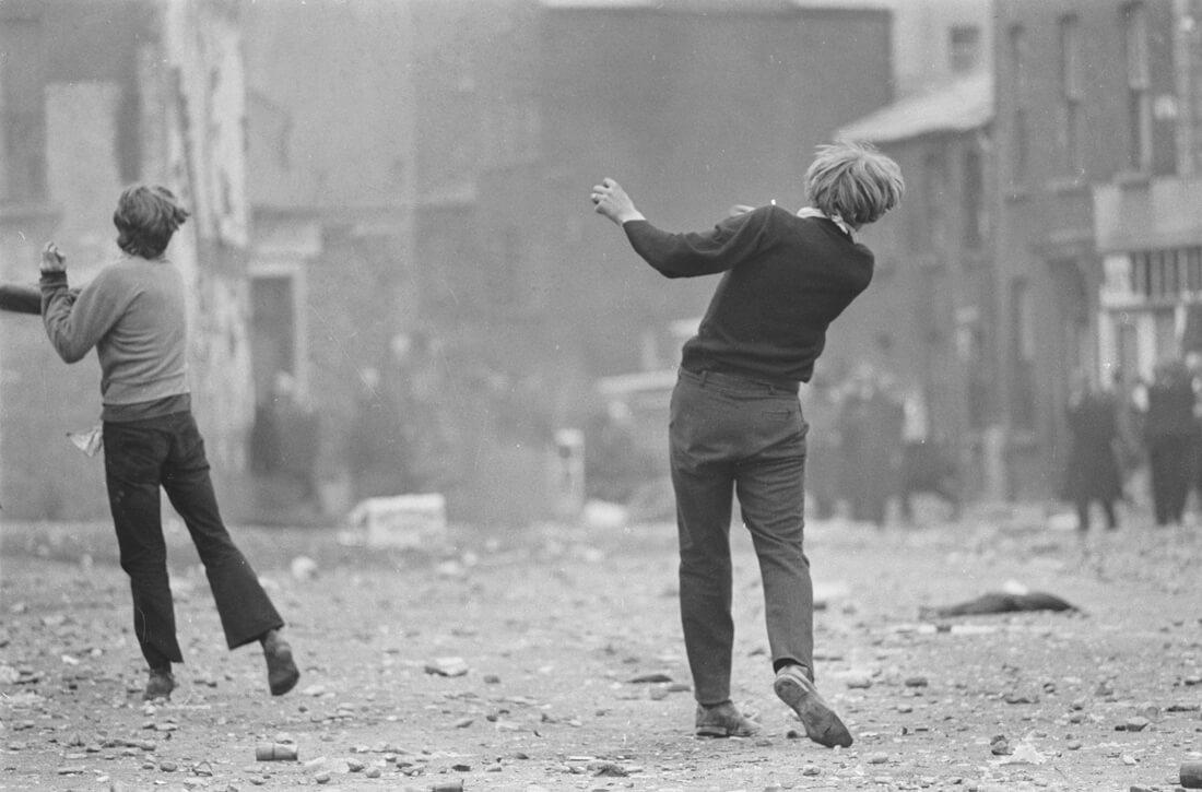 Manifestants catholiques, Bataille du Bogside, Derry, Irlande du Nord
