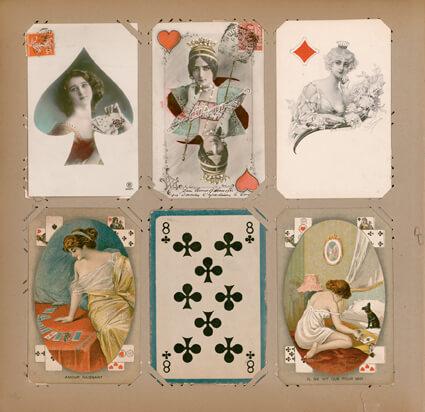 Page d'un album de la collection de cartes postales de Paul Eluard