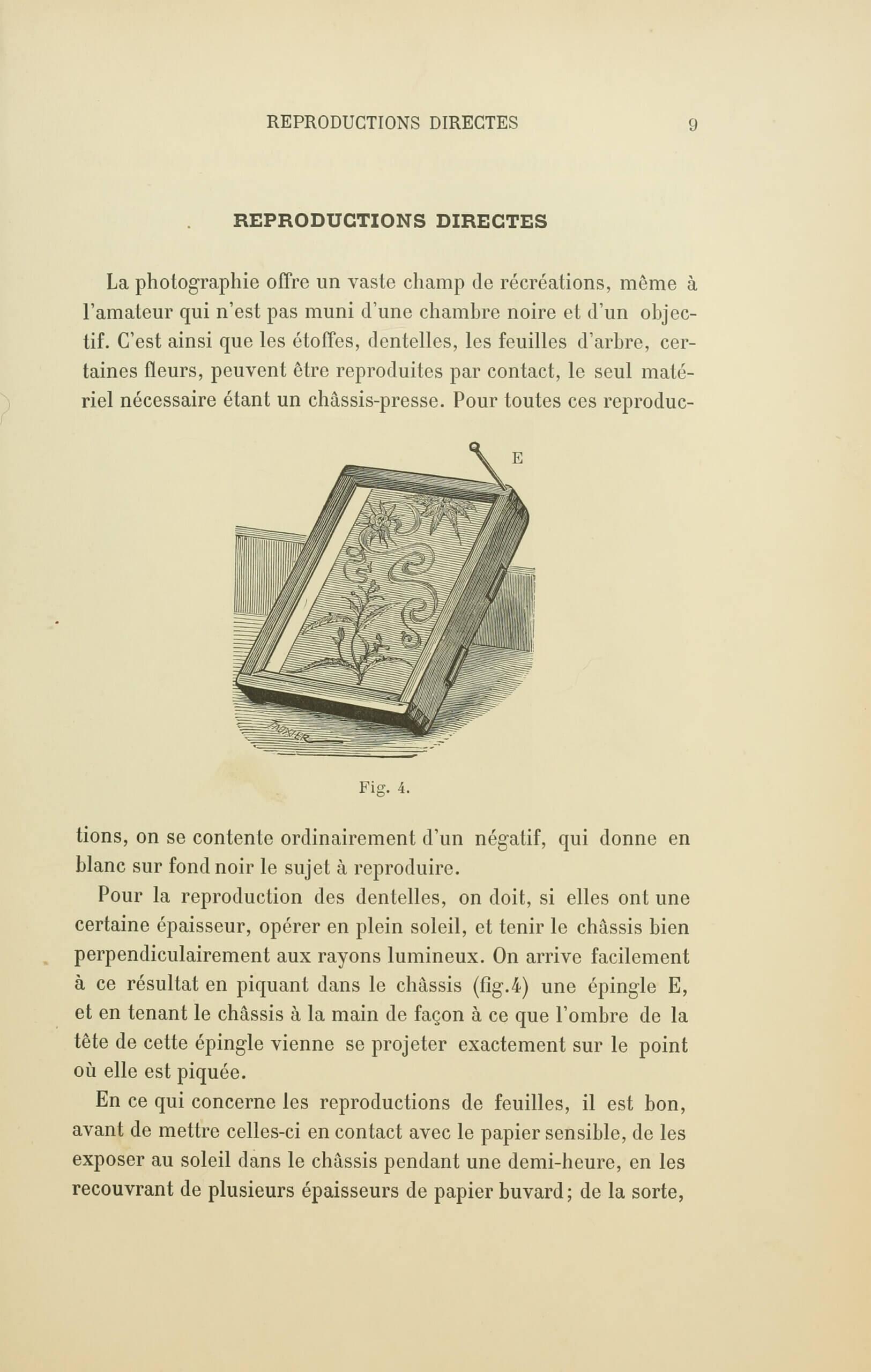 Albert Bergeret et Félix Drouin, «Reproductions directes». <em>Les Récréations photographiques</em>, Paris, Charles Mendel, 1891, p. 9 (Boston Public Library)