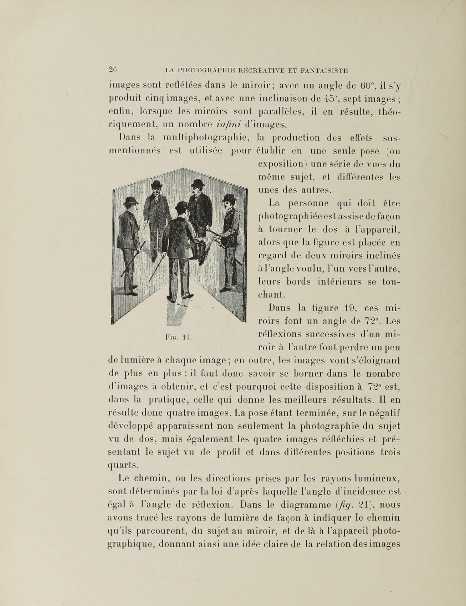 César Chaplot, « La multiphotographie », <em>La Photographie récréative et fantaisiste – recueil de divertissements, trucs, passe-temps photographiques</em>, Paris, Charles Mendel, 1900, p. 26  (Getty Research Institute)