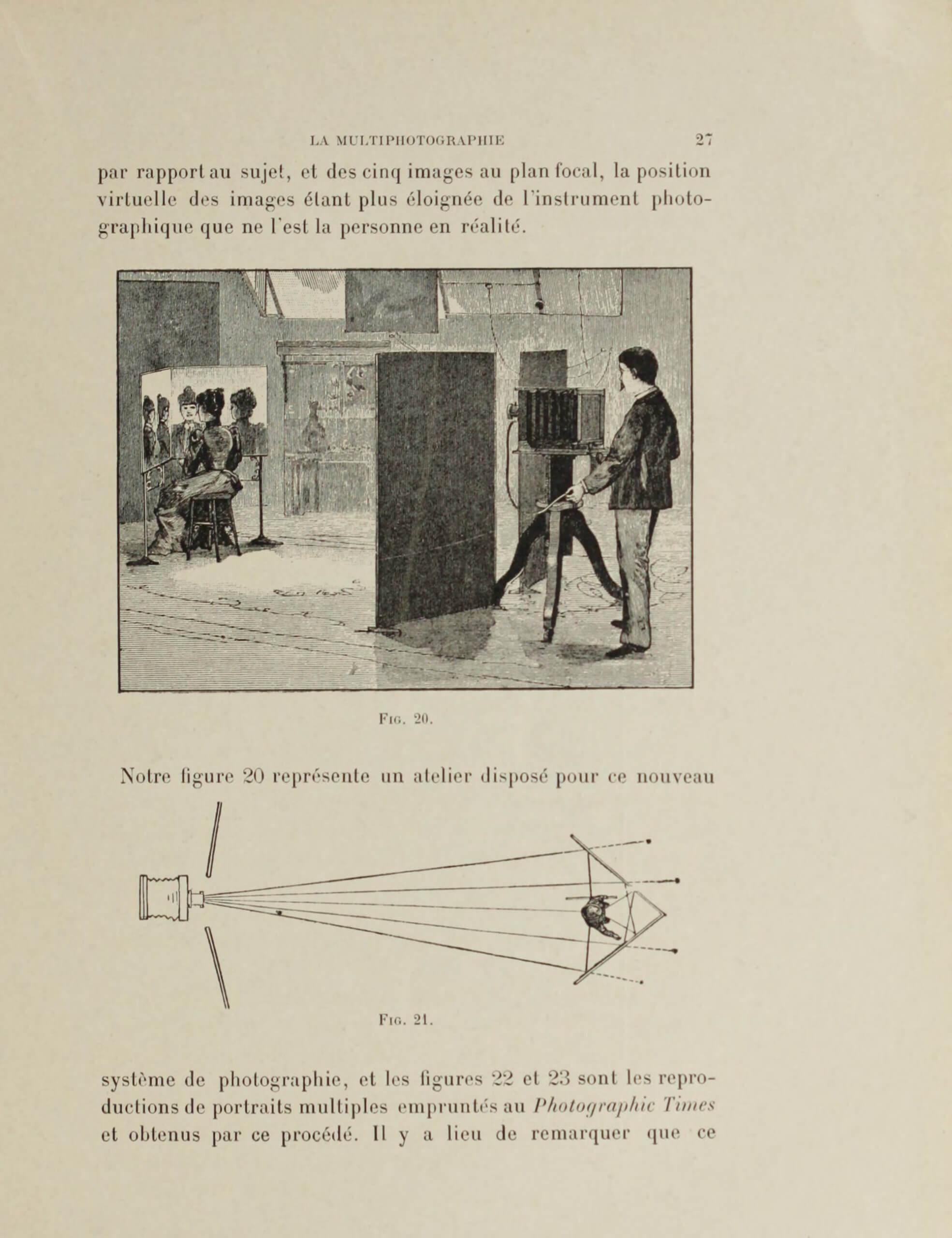 César Chaplot, « La multiphotographie », <em>La Photographie récréative et fantaisiste – recueil de divertissements, trucs, passe-temps photographiques</em>, Paris, Charles Mendel, 1900, p. 27  (Getty Research Institute)