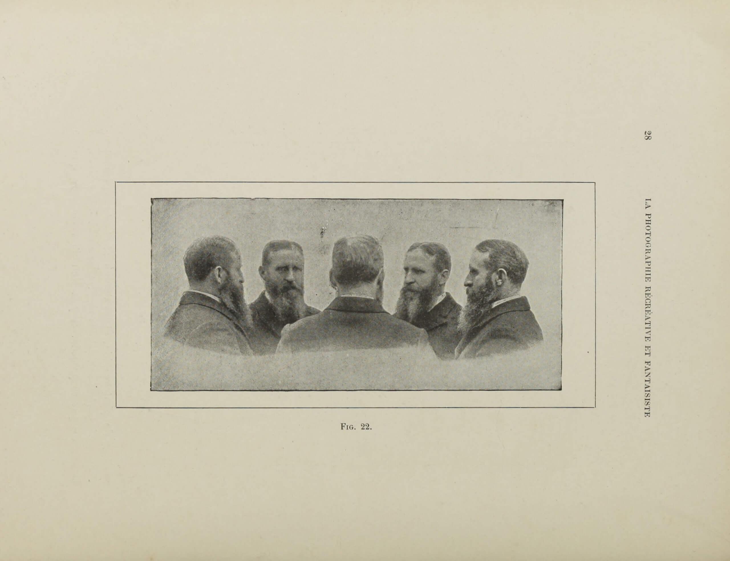 César Chaplot, « La multiphotographie », <em>La Photographie récréative et fantaisiste – recueil de divertissements, trucs, passe-temps photographiques</em>, Paris, Charles Mendel, 1900, p. 28  (Getty Research Institute)