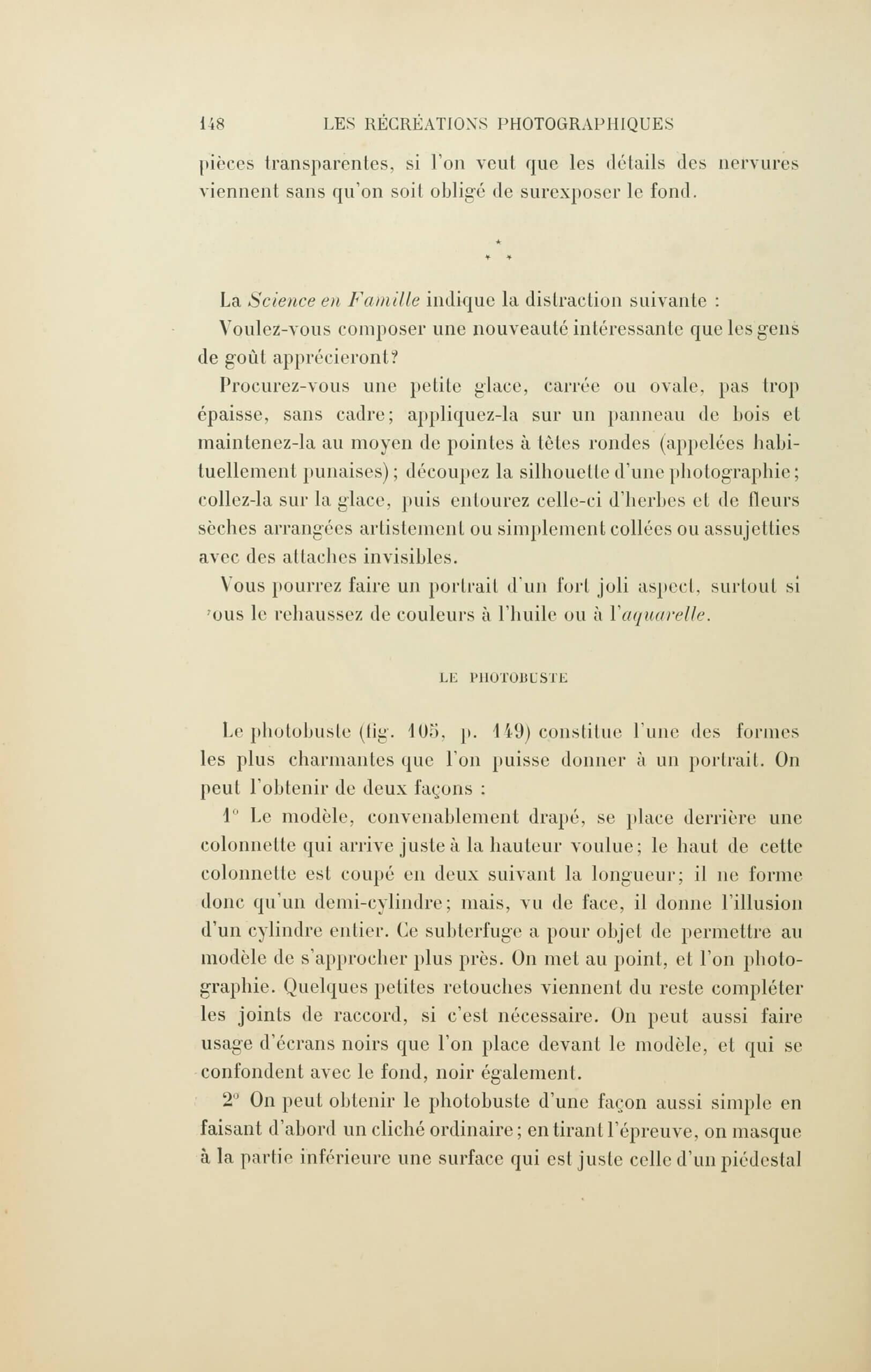 Albert Bergeret et Félix Drouin, «Reproductions directes». <em>Les Récréations photographiques</em>, Paris, Charles Mendel, 1891, p. 148 (Boston Public Library)