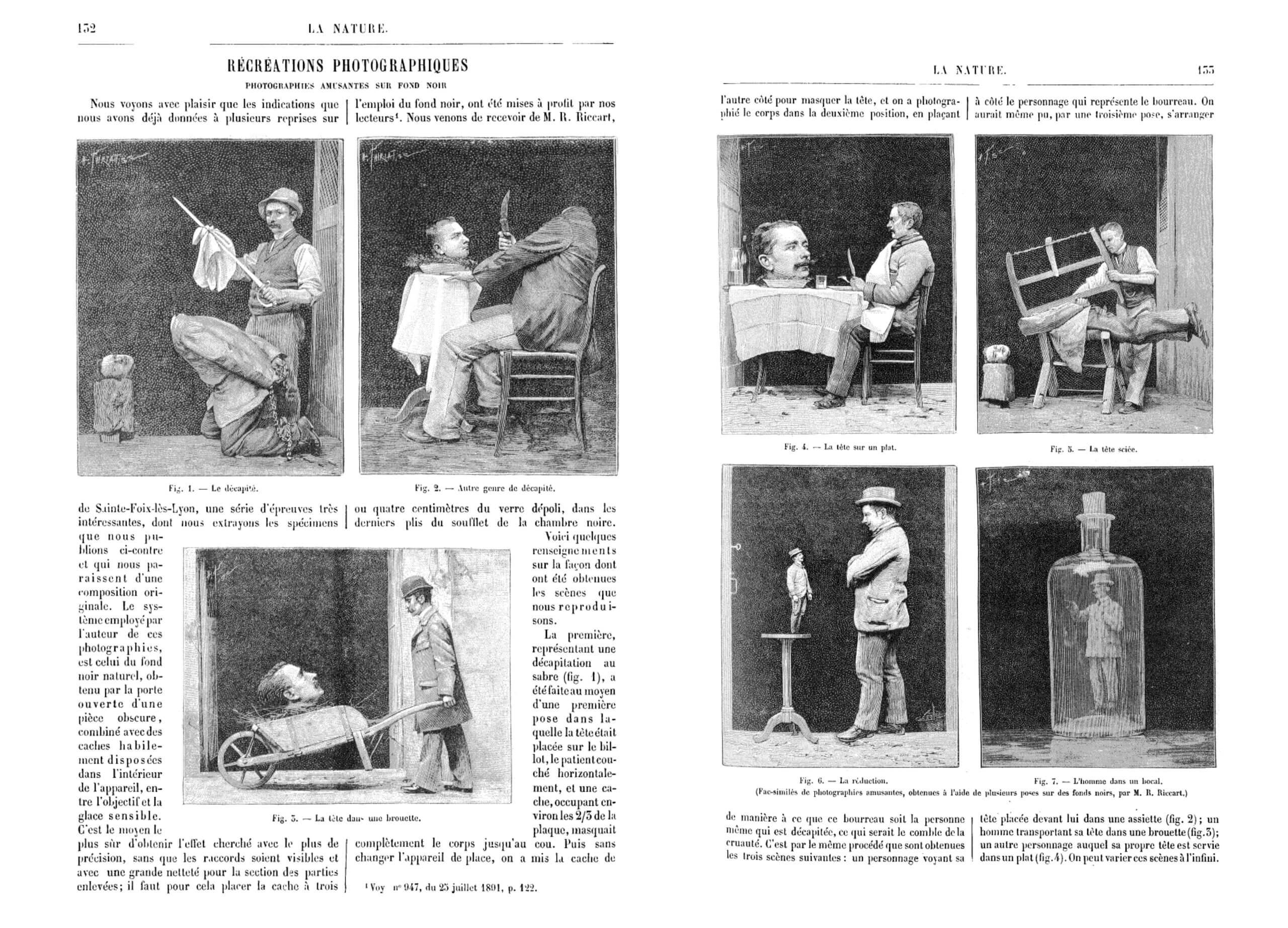 Gabriel Mareschal, « Récréations photographiques. Photographies amusantes sur fond noir ». Revue <i>La Nature</i>, n° 1026, Paris, Masson, 1893, pp. 132-133