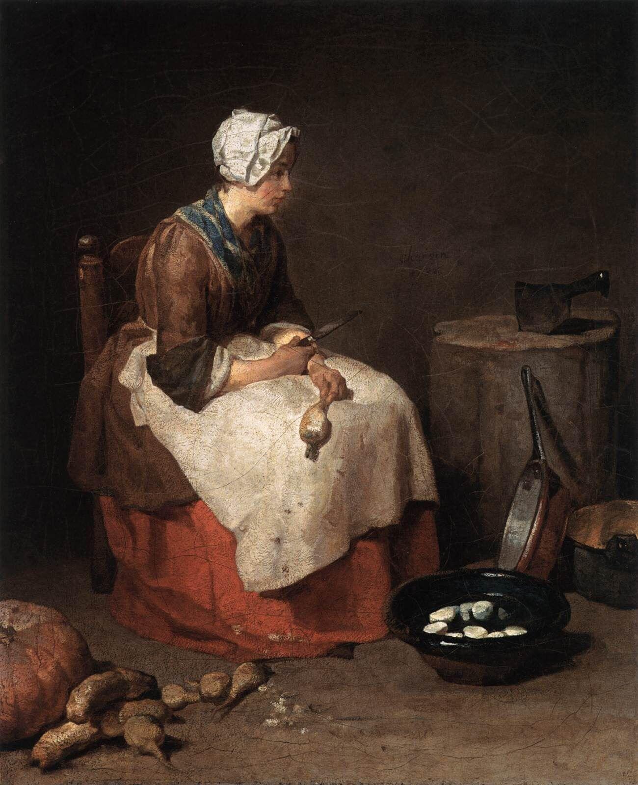 Jean Siméon Chardin, <i>The Turnip Scraper</i> [also known as <i>The Kitchen Maid</i>], 1738, Washington National Gallery of Art