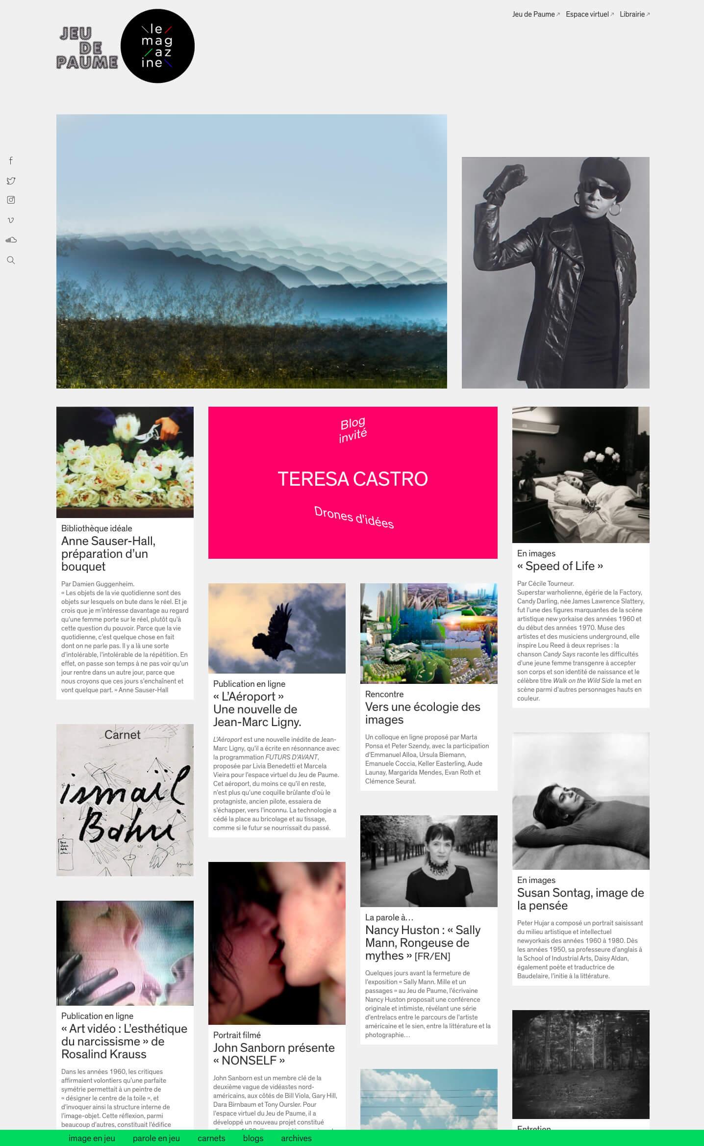le magazine en ligne du Jeu de Paume (2009 - 2020), page d'accueil © Jeu de Paume